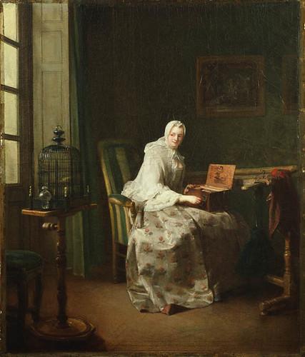 Lady with a Bird-Organ, Jean-Baptiste-Siméon Chardin, 1753 (?)