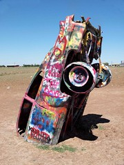 Cadillac Ranch (saxonfenken) Tags: car one paint texas grafitti cadillac amarillo superhero colourful thechallengefactory yourock1st yourock1stplace herowinner pregamesweepwinner fotocompetition|fotocompetitionbronze 6981trans6981
