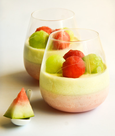 Prepare the honeydew mousse; repeat same steps for watermelon mousse ...