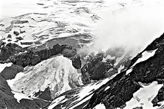 Peaks, Glaciers, & Dangerous Crevasses, North Cascades, Washington State (Gerald L. Campbell) Tags: blackandwhite bw nature photography blackwhite tmax peak scene glacier washingtonstate northcascades crevass olympusom2n scenicphotography whatcompeak 28mmzuikolens 4tografie minoltamultiproscanner
