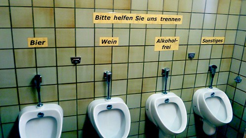 Urinals that sort wee by alcohol content, Darmstadt, Germany.JPG