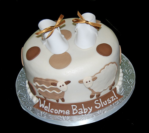 Cream and Coffee colors Sheep Baby Shower Cake with Baby Booties