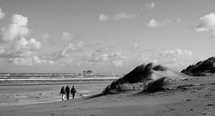 Lodewijk, Carel, Peter (Den=) Tags: sea sky people bw holland beach netherlands clouds sand dune ameland