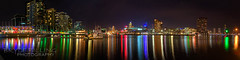 Docklands_Panorama3.jpg (onlyforthelolz) Tags: city panorama water night reflections lights pier boat towers melbourne docklands cbd hdr blend