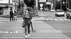 Hey, you. (chad^michael) Tags: blackandwhite crossing streetphotography korea mobilephone fakeempire