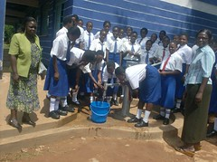 Students enjoying water