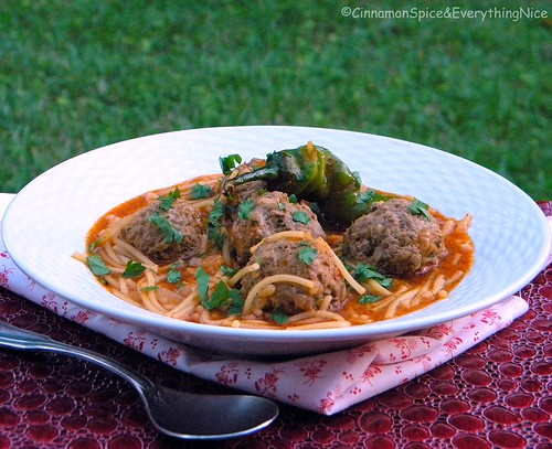 Spicy Vermicelli Noodle Soup with Meatballs
