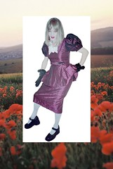 Polly in Poppyland (Pollygraphix) Tags: pink fashion costume clothing glamour purple clothes transvestite trans fancydress whitetights brolita