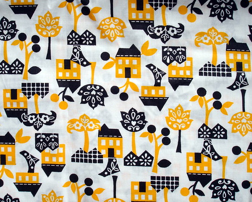 yellow and black house fabric