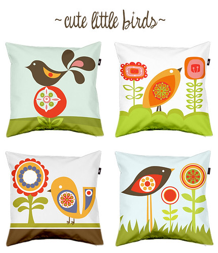 Cute little birds pillows