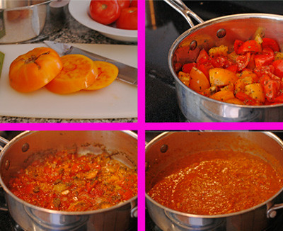 Making Heirloom Tomato Sauce