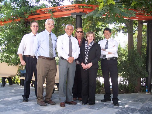 USDA agricultural advisors and temporary duty agricultural representatives in Afghanistan. From left: Jon Fripp, Bruce Dubee, Feridoon Mehdizadegan, Eileen Thacker, Ginger Murphy, and Iraj Motazedian.