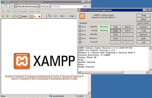XAMPP - runing Apache and MySQL