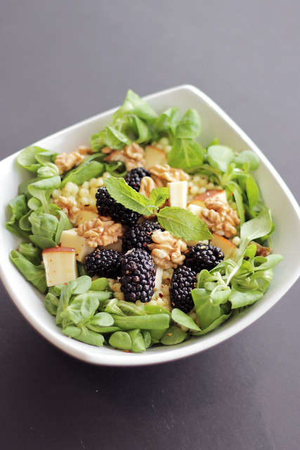 Blackberries, Smoked Cheese and Giant Couscous
