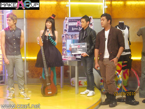 Czari of Make Me Up with the XLR8 pinoy pop band at Sweet Life QTV - AJ Czari Mio and Stylist
