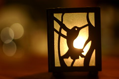 a gift ~~ 272:365 (Debi123 (taking a break)) Tags: tia candle hummingbird bokeh thoughtful blogged tealight agift project365 softeveninglight shuttersisters365 365moments2010