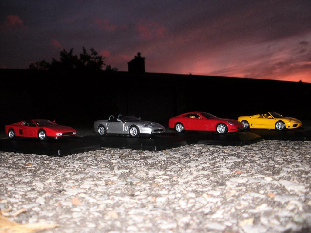 Four (Ixo-made?) Mattel Hot Wheels 1/43 scale Ferrari models.