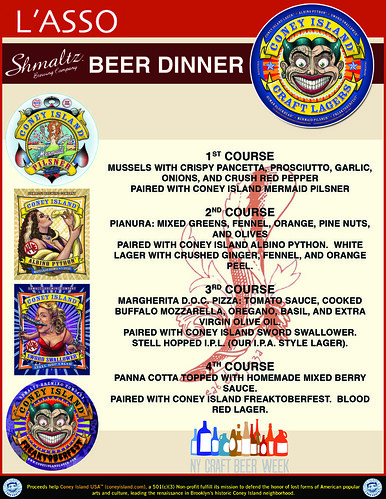 Lasso Coney Island Beer Dinner Menu