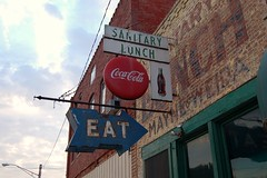 """Indiana, Rossville, """"Eat, Sanitray Lunch / Coca Cola"""" (Gone) (20,010) (20,217) (EC Leatherberry) Tags: sign restaurant indiana cocacola us421"""