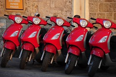 Red Scooters (Saumil U. Shah) Tags: city red color colour colors marina island town ancient europe colours harbour fort citadel scooter medieval greece scooters walls ottoman colourful rodos rhodes turkish byzantine shah dodecanese saumil dodekanisa dodekánisa saumilshah
