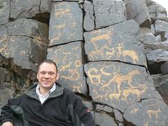 Me and Petroglyphs (jayselley) Tags: mountain asia desert september mongolia range gobi exodus 2010 mongol bayan bichigtkhad mongolianadventure