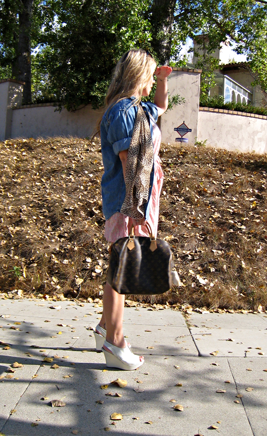 denim shirt+leopard print scarf+pink dress+vera wang wedges+louis vuitton bag