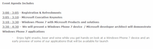Event-Windows phone 7 Agenda