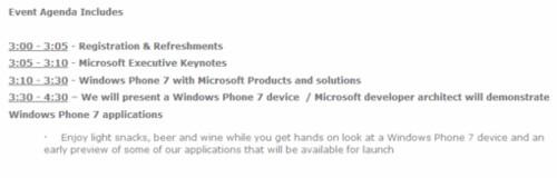 Event-Windows phone 7 Agenda