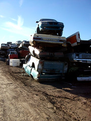 Cars awaiting shredding (dave_7) Tags: old cars car truck rusty trucks junkyard scrapyard crushed lethbridge