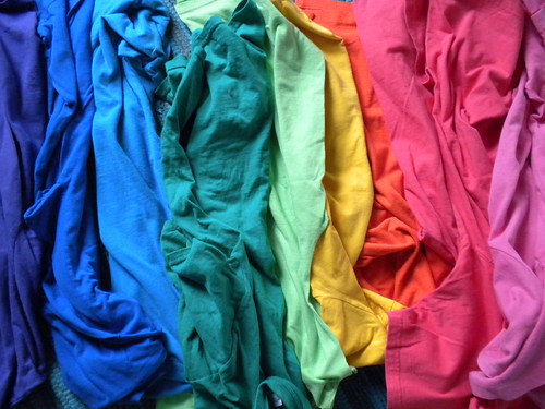Rainbow of t-shirts