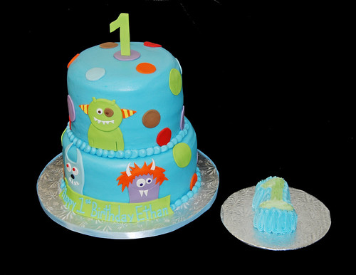 monster themed 1st birthday cake
