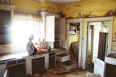 (yyellowbird) Tags: house abandoned kitchen girl yellow washington cari
