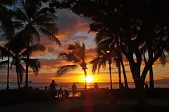 Glorious Waikiki sunset (BarryFackler) Tags: ocean sunset sea beach clouds palms hawaii sand paradise surf waikiki pacificocean shore palmtree tropical honolulu waikikibeach waikikisunset
