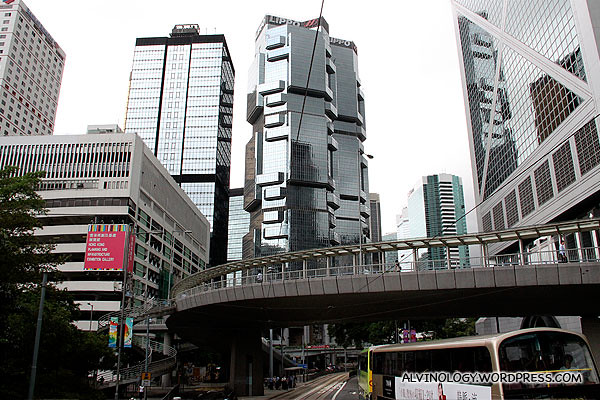 The angular, futuristic Lippo Tower in the middle