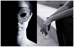 Walk in silence (Kris *) Tags: light woman laura luz girl canon 350d mujer hands friend chica mask walk amiga manos silence máscara xkrysx