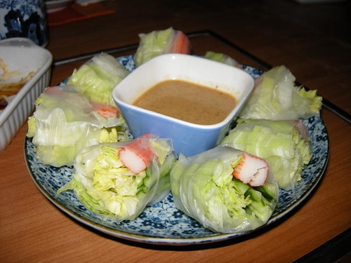 super sarap na fresh kani spring roll w/ peanut sauce