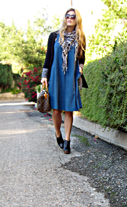 teal dress with ankle boots and cardigans+cat eye sunglasses and louis vuitton speedy-los angeles