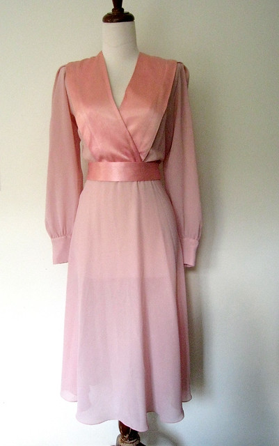 Vintage Blush Pink Sheer & Satin Dress, 1970s