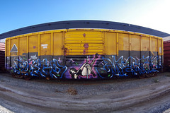 FUEGO  MEWT (TRUE 2 DEATH) Tags: street railroad autostitch panorama streetart art train graffiti pano tag graf traintracks trains panoramic railcar production spraypaint boxcar stripper fuego railways stitched railfan freight poledance freighttrain autostitched rollingstock endtoend autopano  evade stitchedpanorama e2e autopanopro knd mewt benching evades freighttraingraffiti fuegoknd mewts