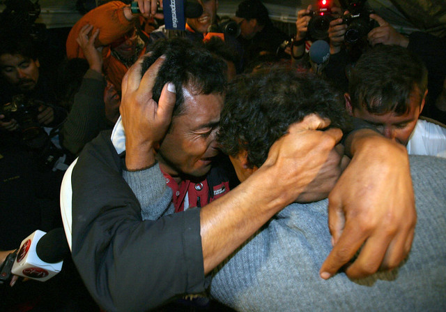 Father of Chilean Miner Embraces His Son
