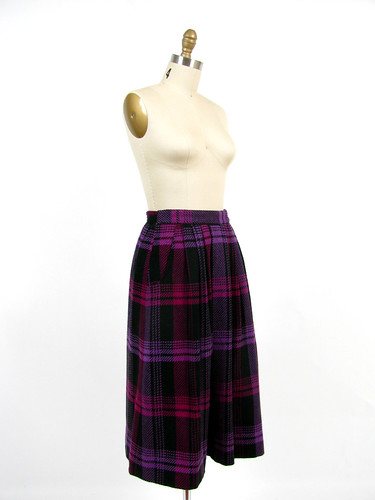 vintage 80's wool plaid full skirt