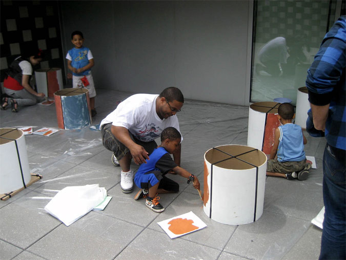 Students help install the ARTfarm installation in the Bronx (Courtesy AFHny Studio)