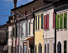 Comacchio, le case - (Explore) (pierluigi maria) Tags: street blue windows red italy brown white house color green colors nikon emiliaromagna comacchio nikond5000