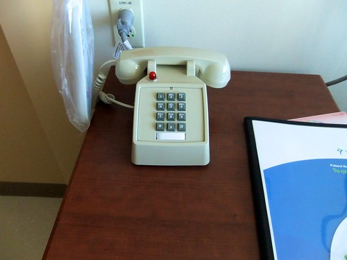 a landline sitting on a table