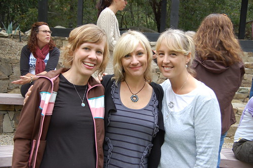 Heather of the EO, Me, Ellie. All wearing Ellie's jewelry. FYI.