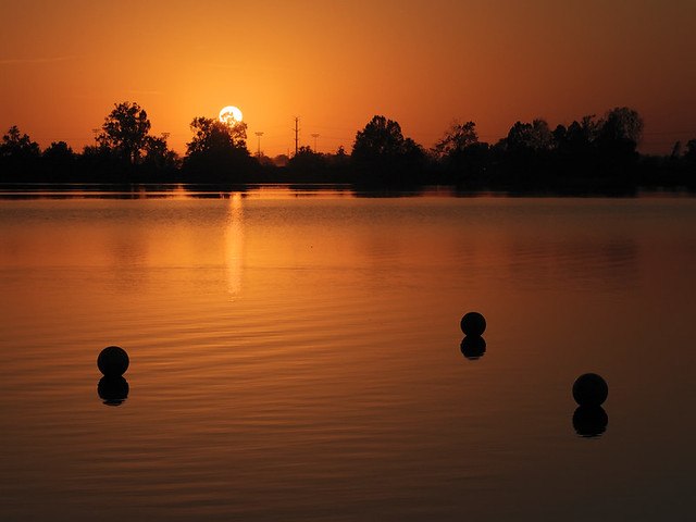 Creve Coeur Lake, in Maryland Heights, Missouri, USA - setting sun