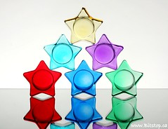 Star Burst (Karen_Chappell) Tags: blue red stilllife 6 white colour reflection green glass yellow stars table star mirror rainbow colours purple spectrum violet indigo multicoloured colourful shape six tabletop