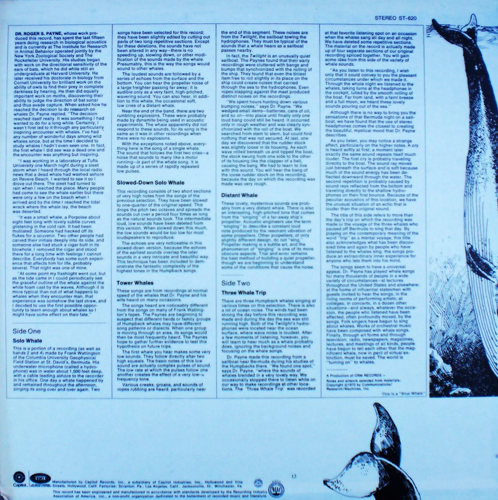 SONGS OF THE HUMPBACK WHALE back cover