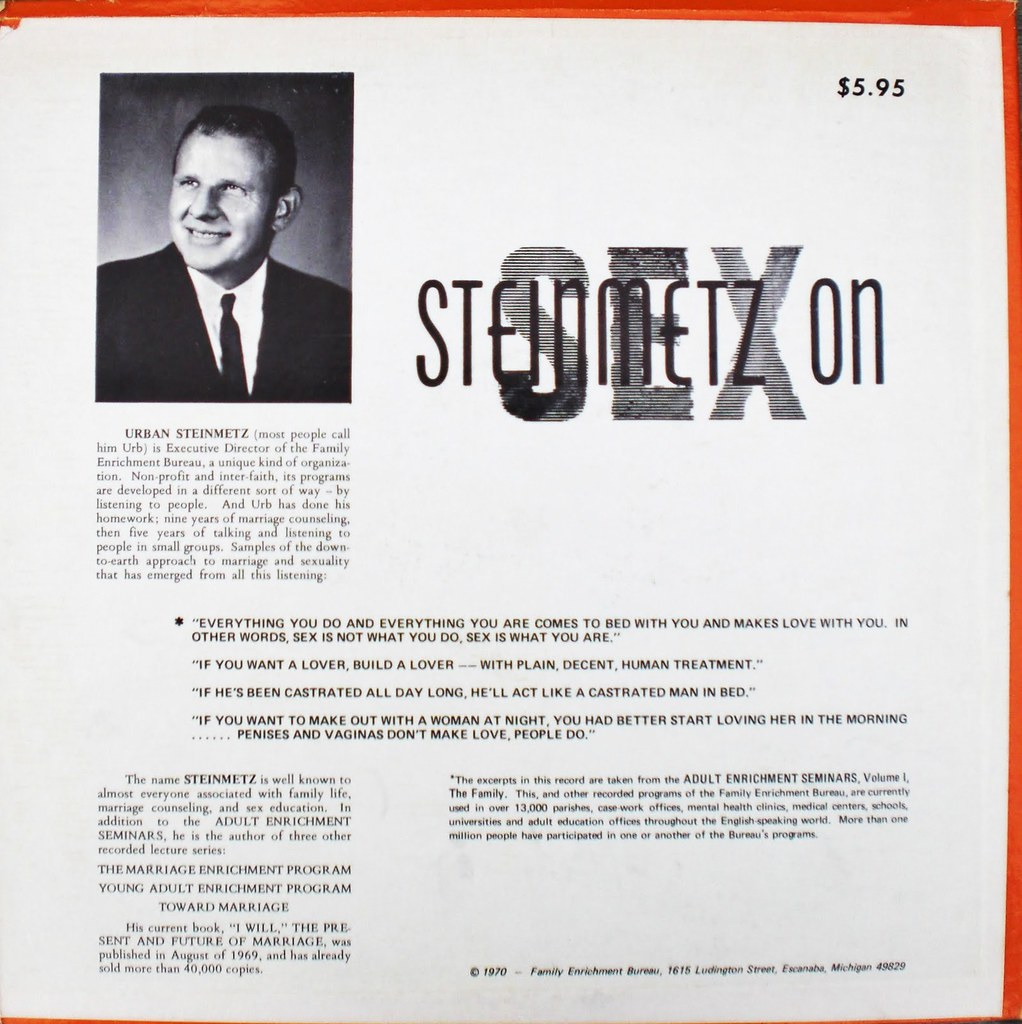 STEINMETZ ON SEX back cover
