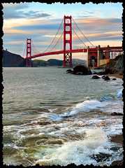 Golden Gate Bridge, Waves, Pacific Ocean (Wernher Krutein) Tags: sanfrancisco california city travel usa history architecture landmark structure historic goldengatebridge american archives suspensionbridge scenics ggb